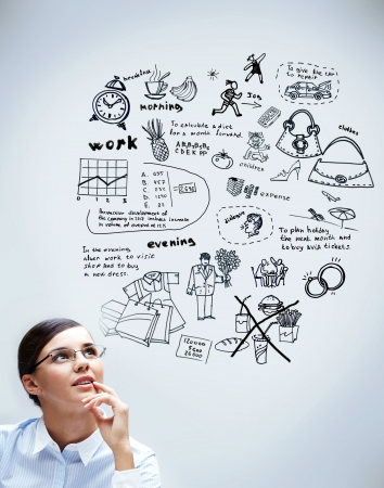 Image of young woman thinking of her plans