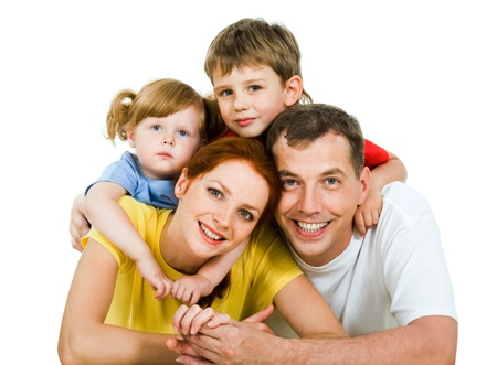 Portrait of lying family together isolated on a white background