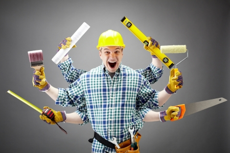 Portrait of shouting craftsman with different tools in six hands
