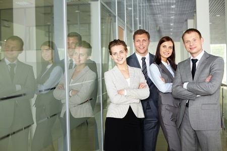 Row of confident business group looking at camera