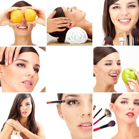 Photo for Collage of beautiful woman being taken care of in beauty salon - Royalty Free Image