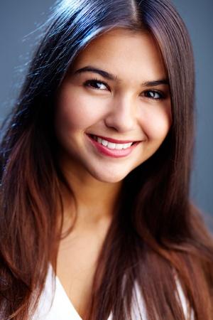 Portrait of teenage girl with long brown hair