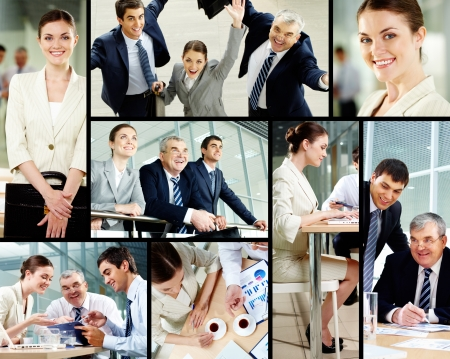 Collage of successful business people