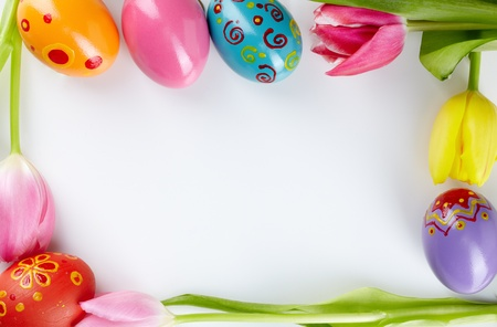 Image of decorative frame made up of Easter eggs and tulips