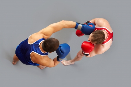 The above view of two guys boxing
