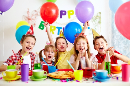 Photo for Group of adorable kids having fun at birthday party - Royalty Free Image