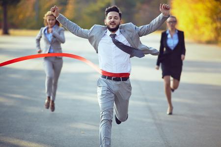 Photo for Businessman winning marathon - Royalty Free Image