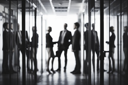 Photo pour Black and white image of business people at office - image libre de droit
