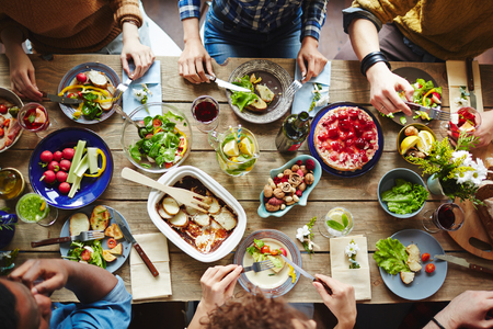 Photo for Top view of friends having lunch - Royalty Free Image