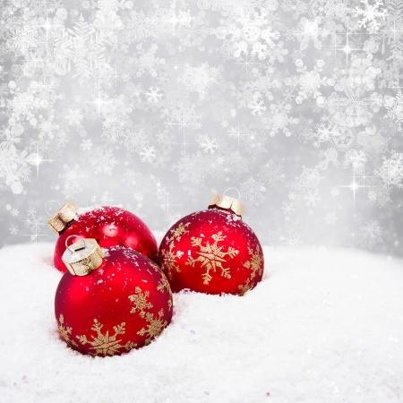 Photo pour Three red christmas balls  - image libre de droit