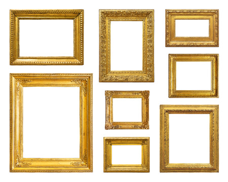 Photo pour Set of golden vintage frame on white background - image libre de droit