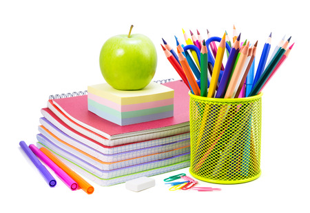 Photo pour School stationery on a white, back to school background - image libre de droit
