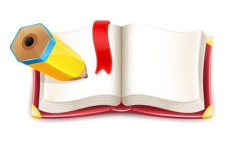 Illustration pour Cartoon Open Book with Pencil  - image libre de droit