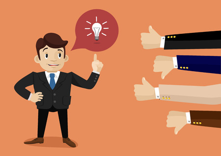 Illustrazione per Businessman feedback. Like and dislike - Immagini Royalty Free
