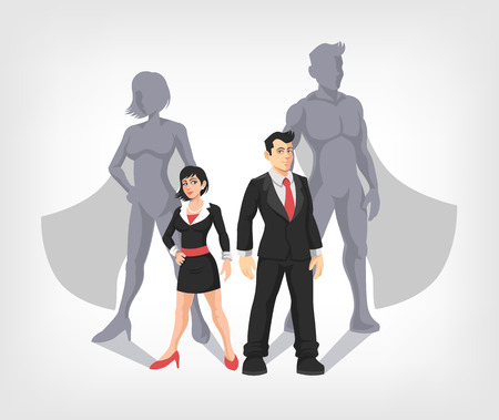 Ilustración de Businessman and business woman are superheroes. Vector illustration - Imagen libre de derechos