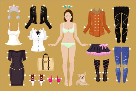 Illustration pour Vector paper doll illustration - image libre de droit
