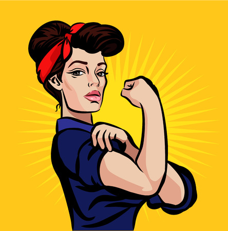 Illustration pour Vector strong pin up girl illustration - image libre de droit