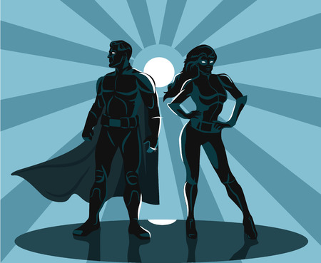 Illustration for Superheroes silhouette vector illustration - Royalty Free Image