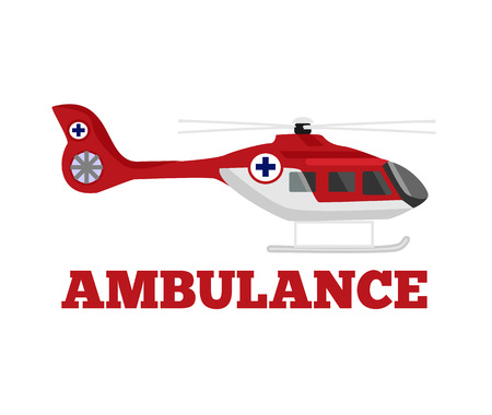 Illustration pour Vector ambulance helicopter flat illustration - image libre de droit