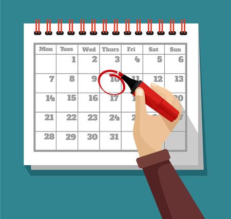 Illustration for flat calendar illustration - Royalty Free Image