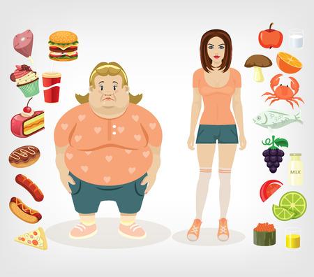 Photo pour diet flat illustration - image libre de droit