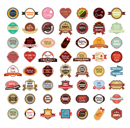 Illustration pour Vector vintage badges, stickers, ribbons, banners and labels - image libre de droit