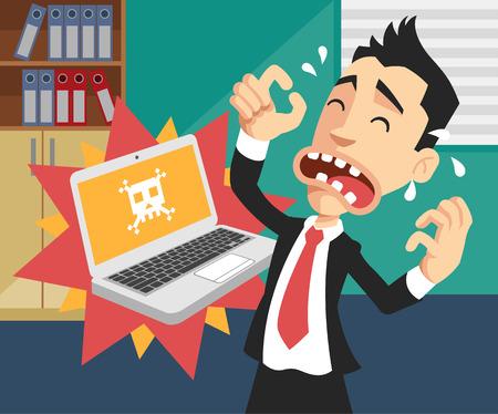 Illustration pour Man with broken computer. Vector flat illustration - image libre de droit
