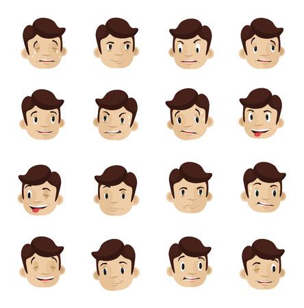 Emotional heads flat icons set