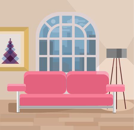 Illustration pour Living room vector flat illustration - image libre de droit