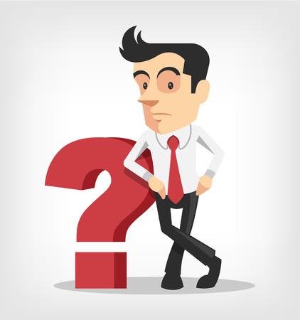 Illustrazione per Business man with question mark. Vector flat illustration - Immagini Royalty Free
