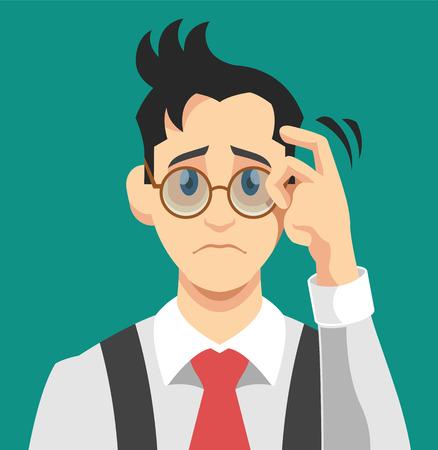 Illustration pour Sad man. Vector flat illustration - image libre de droit