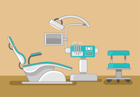 Illustration pour Dentist office vector flat illustration - image libre de droit