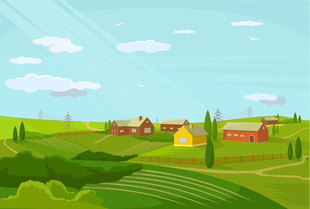 Photo for Vector village flat illustration - Royalty Free Image