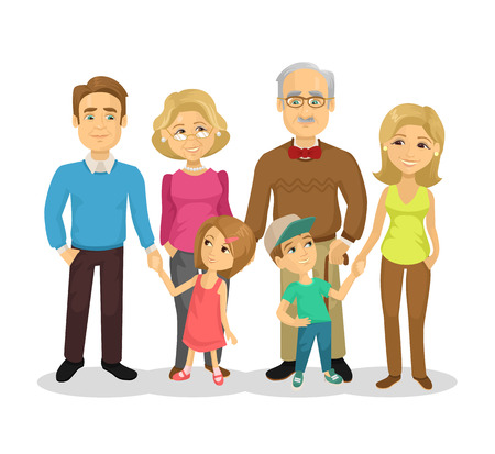 Illustration for Vector full family flat cartoon illustration - Royalty Free Image