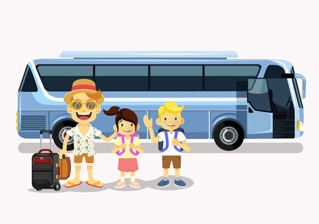 Foto per Family holiday. Vector flat cartoon illustration - Immagine Royalty Free