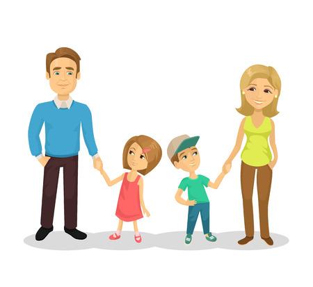 Vector family flat cartoon illustration