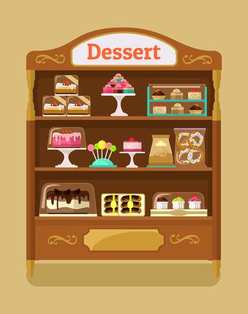 Ilustración de Store sweets. Vector flat illustration - Imagen libre de derechos