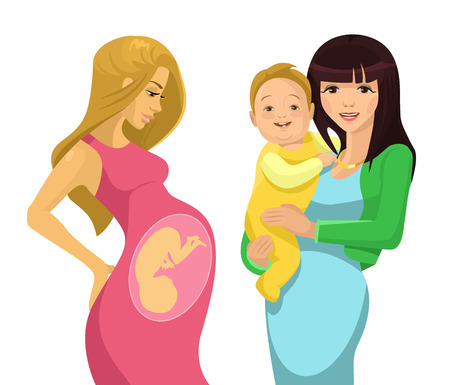 Illustration pour Young mother. Vector flat illustration - image libre de droit