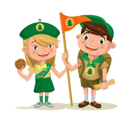 Illustration pour Children scouts. Vector flat illustration - image libre de droit