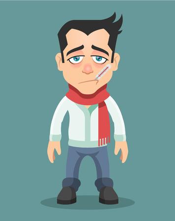 Ilustración de Sick man with thermometer in his mouth. Vector flat illustration - Imagen libre de derechos