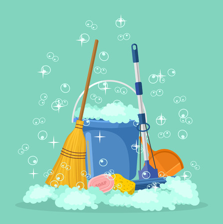 Illustration for Cleaning vector flat cartoon illustration - Royalty Free Image