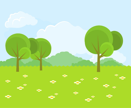 Illustration pour Beautiful green landscape. Vector flat illustration - image libre de droit