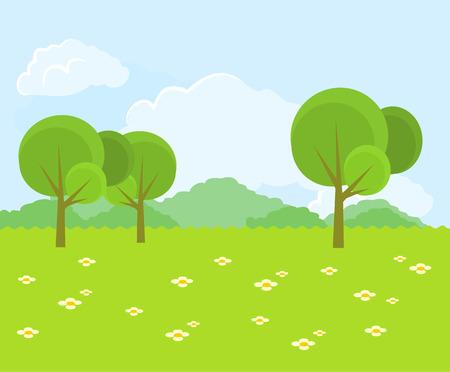 Ilustración de Beautiful green landscape. Vector flat illustration - Imagen libre de derechos