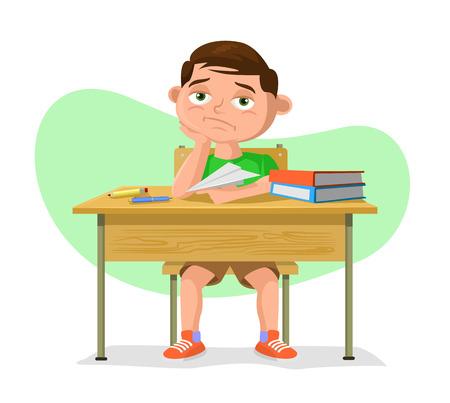 Illustration for Vector schoolboy flat cartoon illustration - Royalty Free Image