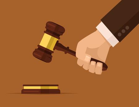 Illustration pour Hand holding judges gavel - image libre de droit