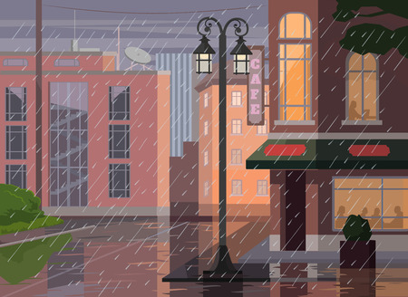 Illustration pour Rainy city. Vector flat cartoon illustration - image libre de droit