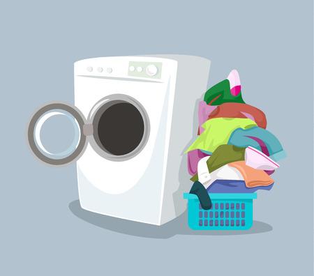 Illustration pour Vector washing machine. Flat cartoon illustration - image libre de droit