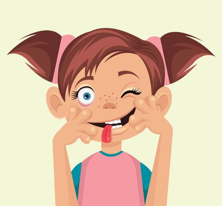 Illustrazione per Child makes faces. Vector flat illustration - Immagini Royalty Free