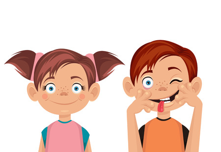 Illustration for Brother and sister. Vector flat illustration - Royalty Free Image