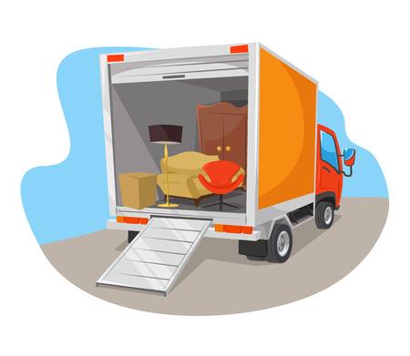Illustration pour Vector delivery car flat illustration - image libre de droit